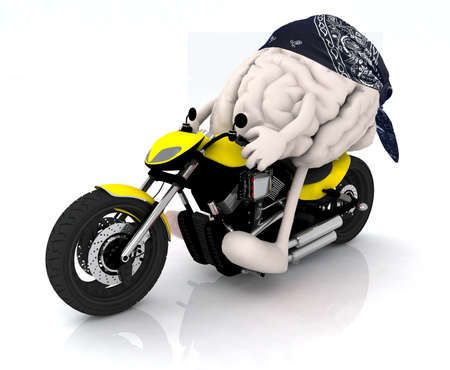 human brain with arms, legs and bandana on the motorbike photo