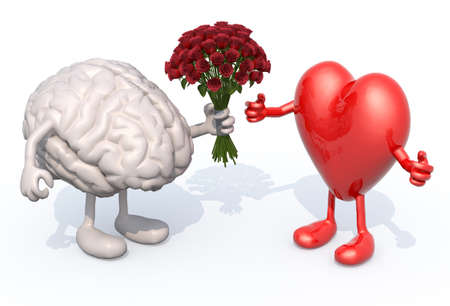 human brain with arms and legs, hands her a bouquet of roses to a heart