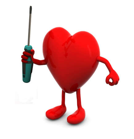 cardia: red heart with arms and legs and screwdriver on hand