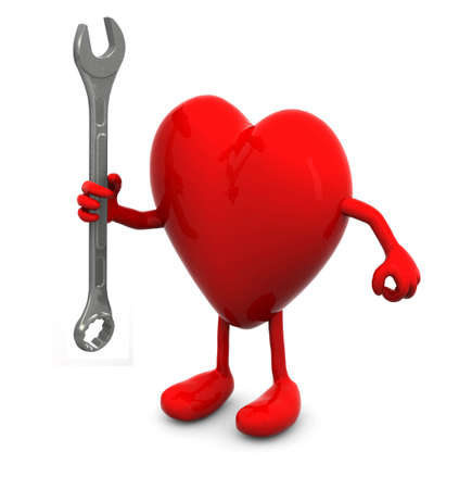 cardia: red heart with arms and legs and wrench on hand, 3d illustration