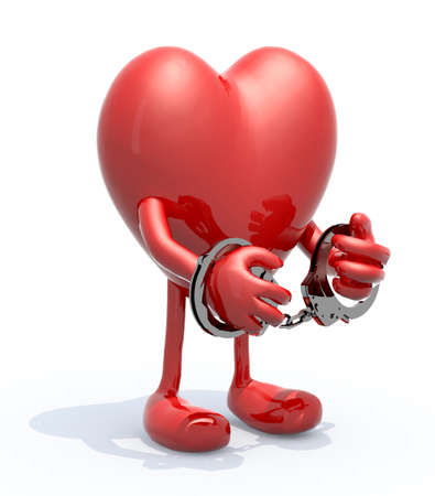 woman handcuffs: heart with arms, legs and handcuffs on hands Stock Photo