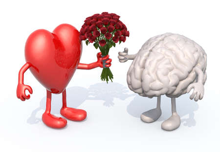 heart with arms and legs, hands her a bouquet of roses to a brain Archivio Fotografico