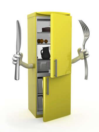 solucion de problemas: refrigerador con los brazos, tenedor y cuchillo en las manos