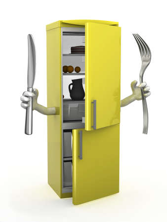overeat: refrigerator with arms, fork and knife on hands