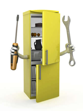 icebox: refrigerator with arms and tools on hands