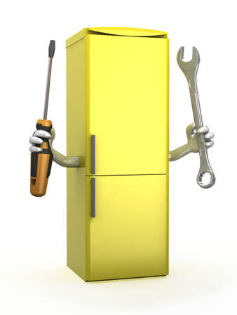 icebox: yellow refrigerator with arms and tools on hands