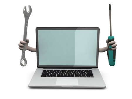 repair computer: laptop with arms and tools on hand Stock Photo