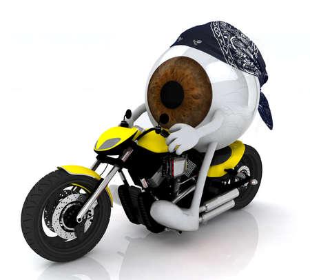 human eye with arms, legs and bandana on the motorbike photo