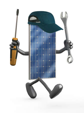 solar equipment: Photovoltaic solar panel with arms, legs and tools on hands