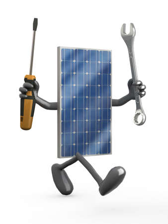 install: Photovoltaic solar panel with arms, legs and tools on hands, 3d illustration