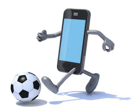 smart phone with arms and legs play soccer photo