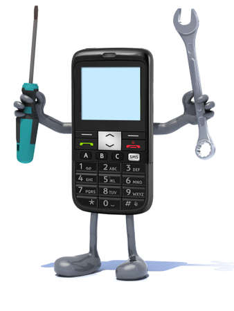 cellphone with arms and tool on hands, 3d illustration illustration