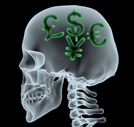 X-ray of a head with currency symbols, 3d illustration illustration