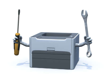 photocopier: laser printer with arms and tools on hands, 3d illustration