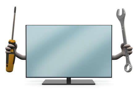 lcd television with arms and tools on hand, 3d illustration