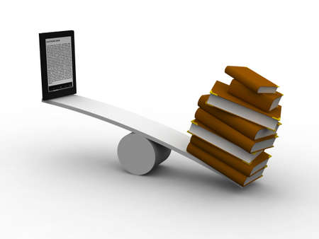 transition: seesaw between many books and e-reader, 3d illustration