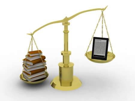 vs: balance between many books and e-reader, 3d illustration