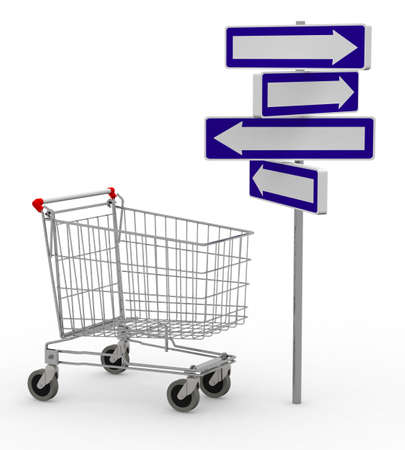 movable: shopping cart and signage arrow, 3d illustration