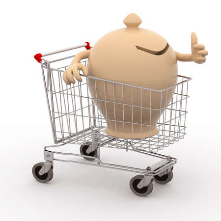 moneybox in a shopping cart that makes the gesture of ok photo