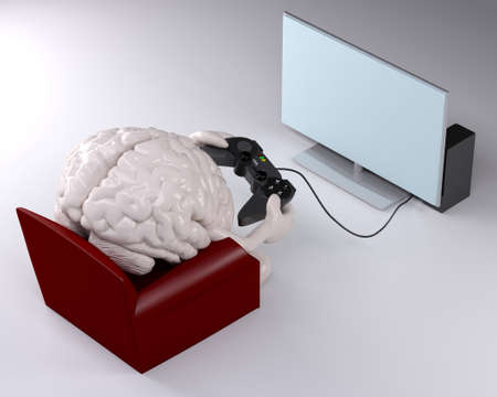 human brain on armchair with arms, legs and game controller on hands that is playing photo