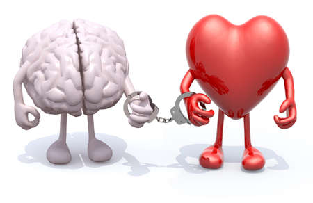 bondage: human brain and heart with arms and legs linked by handcuffs on hands, 3d illustration