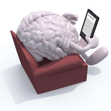 human brain organ reading a electronic book from the couch, 3d illustration illustration
