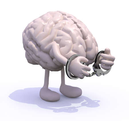 contemplation: human brain with arms, legs and handcuffs on hands