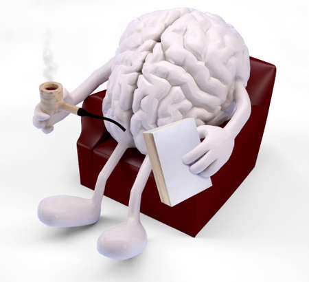 embers: brain with arms and legs on armchair, with book and smoking pipe on hands
