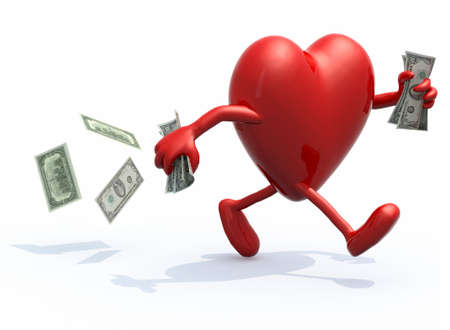 heart with arms and legs run away with dollar notes on hands, 3d illustration illustration