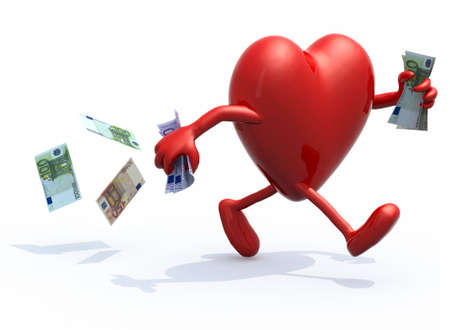 heart with arms and legs run away with euro bank notes on hands, 3d illustration illustration