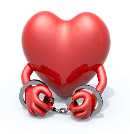 handcuffs woman: heart with arms and handcuffs on hands, 3d illustration