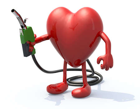 exhaust pipe: heart with arms, legs and fuel pump in hand, 3d illustration