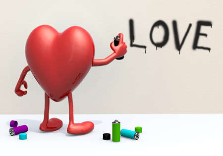 heart with arms, legs and spray can in hand, in front of a wall, writers concepts photo