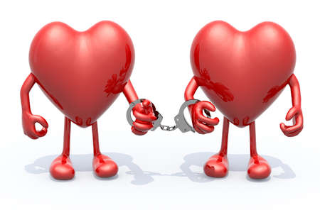 linked hands: two hearts with arms and legs linked by handcuffs on hands, 3d illustration Stock Photo