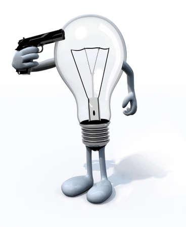 bombillo ahorrador: bombilla matar a s� mismo, el concepto de tecnolog�a antigua Foto de archivo
