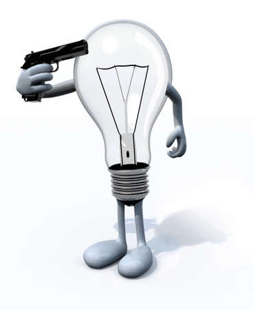 light bulb kill itself, the concept of old technology photo