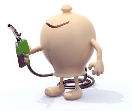 ceramic moneybox with arms, legs and fuel pump in hand, 3d illustration illustration