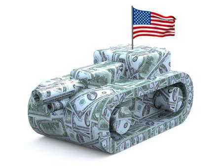 howitzer: tank made of dollars, 3d illustration