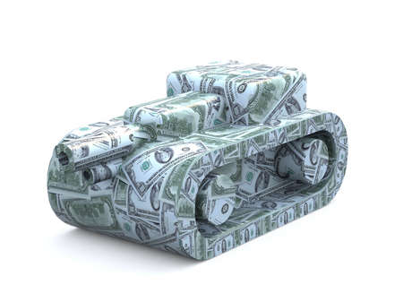 howitzer: tank made of dollars, 3d illustration