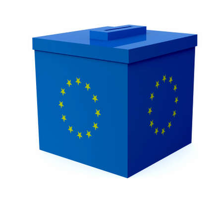 ballot box: ballot box colored with european flag, 3d illustration