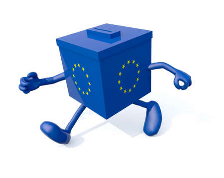 abstention: european ballot box with arms and legs that run, 3d illustration Stock Photo