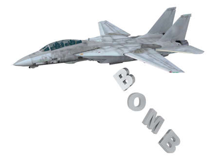 dropping: warplane launching letters instead of bombs, 3d illustration