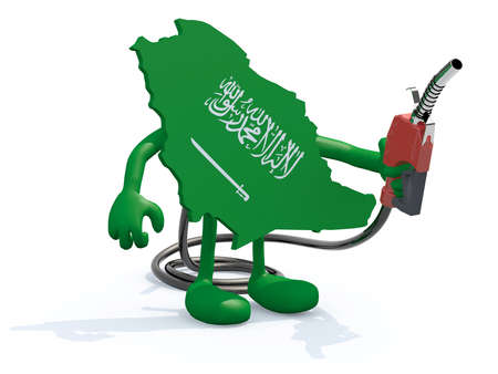 wells: saudi arabia map with arms, legs and fuel pump in hand, 3d illustration