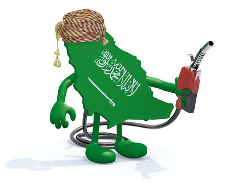 saudi: saudi arabia map with arms, legs and fuel pump in hand, 3d illustration