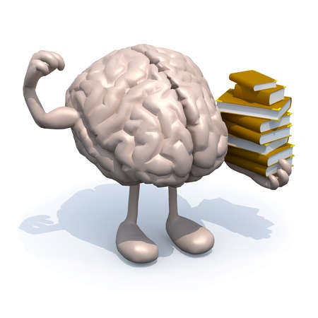 rationality: human brain with arms, legs and many books on hand, culture power concept. Stock Photo