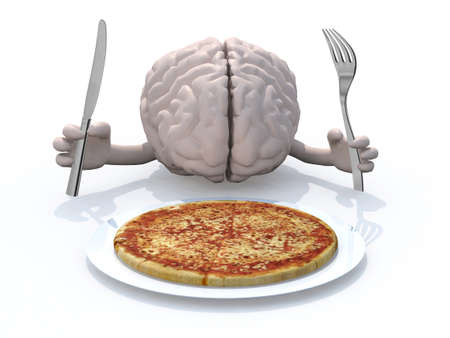 human brain with hands, fork and knife in front of a pizza dish, 3d illustration