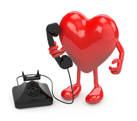heart with arms, legs and old phone on hand, 3d illustration illustration