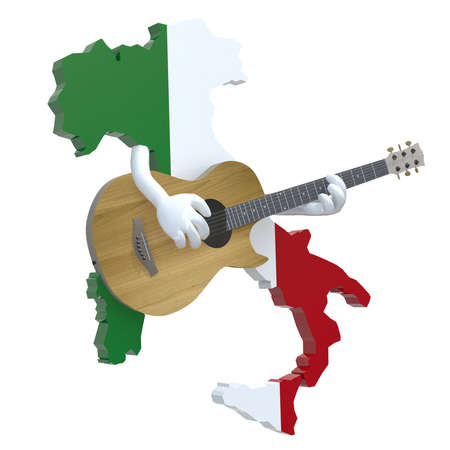 live music: map of Italy with arms that play guitar, 3d illustration Stock Photo