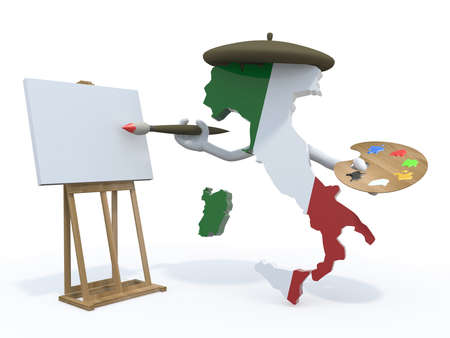 Italian map with arms, painter with brush and easel photo