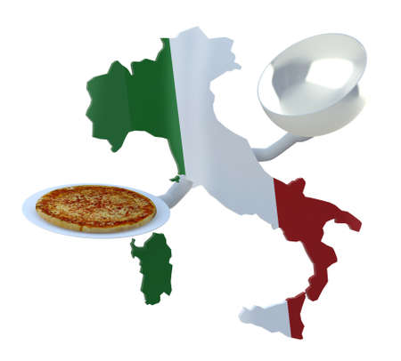 italia: Italy map cartoon with arms and pizza on dish